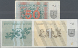 Lithuania / Litauen: Set With 3 Banknotes 1, 3 And 50 Talonas Without Text On Lower Front, P.32a In - Lithuania