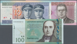 Lithuania / Litauen: Lot With 3 Banknotes 10, 20 And 100 Litu 2007, P.68-70, All In UNC Condition. ( - Lithuania