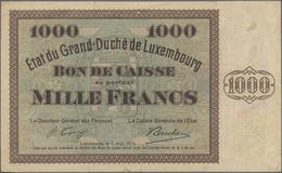 Luxembourg: État Du Grand-Duché Grand Duché De Luxembourg 1000 Francs 1939 (1940), P.40a, Very Popul - Luxemburg