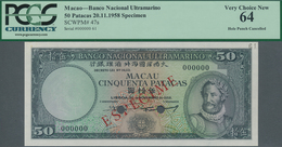 Macau / Macao: Banco Nacional Ultramarino 50 Patacas 1958 SPECIMEN, P.47s With Punch Hole Cancellati - Macau