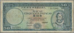 Macau / Macao: Banco Nacional Ultramarino 50 Patacas 1976, P.56, Margin Split, Toned Paper And Sever - Macau