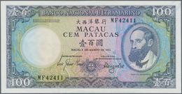 Macau / Macao: Banco Nacional Ultramarino 100 Patacas 1981, P.61b, Very Soft Bend At Center, Otherwi - Macau
