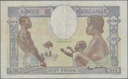 Madagascar: Banque De Madagascar 100 Francs ND(1937), P.40, Very Nice With A Few Spots And Folds. Co - Madagascar