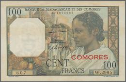 Madagascar: Set Of 2 Notes Madagascar / Comores Containing 500 Francs 1950 P. 47a, Used With Folds, - Madagascar