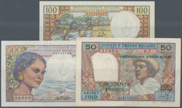 Madagascar: Set Of 3 Banknotes Containing 100 Francs ND(1966) P. 58, A Few Pinholes At Left, Crispne - Madagascar