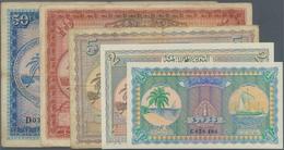 Maldives / Malediven: Set Of 5 Banknotes Containing 1 Rupee 1960 P. 2b (UNC), 2 Rupees 1960 P. 3b (U - Maldives