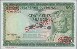 Mali: Banque De La République Du Mali 500 Francs 1960 (1967) SPECIMEN, P.8s In Perfect UNC Condition - Mali