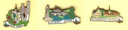"""3 Pin's PBVF Plus Beaux Villages De France """"SAINT FLORET - ESTAING - MITTELBERGHEIM"""" Signé LB CREATION PARIS - Villes"""