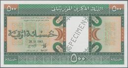Mauritania / Mauretanien: 500 Ouguiya 1983 Front And Reverse Specimen With Perforation / Red Overpri - Mauritania