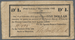 Mauritius: 1 Dollar Special Finance Committee 01.09.1842 / 01.02.1844, Printed On The Back Of Cut Up - Mauritius