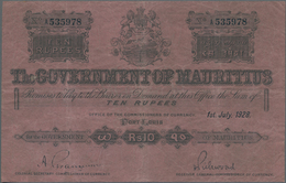 Mauritius: The Government Of Mauritius 10 Rupees July 1st 1928, P.17, Still Nice With Crisp Paper An - Mauritius