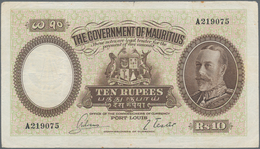 Mauritius: The Government Of Mauritius 10 Rupees ND(1930) With Portrait Of King Georg V, P.21, Small - Mauritius