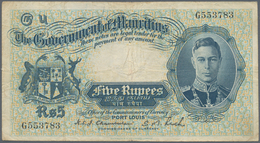Mauritius: 5 Rupees ND(1937) P. 22, Portait KGVI, Used With Folds And Creases, Light Stain In Paper, - Mauritius