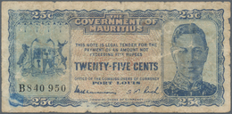 Mauritius: 25 Cents ND(1940) P. 24c, Used With Folds, Borders A Bit Worn, Minor Holes, No Repairs, N - Mauritius