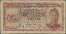 Mauritius: 50 Cents ND(1940) P. 25a, Portrait KGVI, Used With Folds And Creases, Borders A Bit Worn, - Mauritius