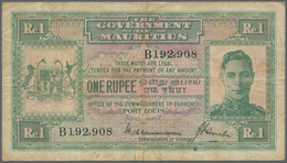 Mauritius: 1 Rupee ND(1940) P. 26, Used With Folds And Light Stain In Paper, Portrait KGVI, No Holes - Mauritius