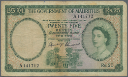 Mauritius: 25 Rupees ND(1954) P. 29, Rare Denomination Of This Series, Portrait QEII, Used With Fold - Mauritius