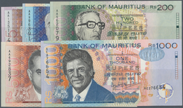 Mauritius: Set Of 5 Different Banknotes Containing 25, 50, 200, 500 & 1000 Rupees 1999 P. 49-54, All - Mauritius