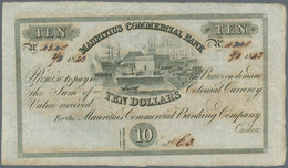 Mauritius: 10 Dollars = 2 Pounds Sterling 1843 P. S122, Used With Folds, Small Holes Caused By The I - Mauritius