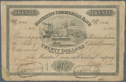 Mauritius: 20 Dollars = 4 Pounds Sterling 1839 P. S125, Used With Folds And Creases, Light Stain In - Mauritius