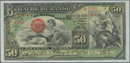 Mexico: El Banco De Durango 50 Pesos 1914, P.S276A, Almost Perfect, Just A Few Minor Wrinkles At Lef - Mexico