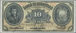 Mexico: Banco De Querétaro 10 Pesos 1914, P.S391b, Soft Vertical Bend At Center And Tiny Dint At Low - Mexico