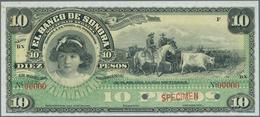 Mexico: El Banco De Sonora 10 Pesos 1899-1911 SPECIMEN, P.S420s, Punch Hole Cancellation And Red Ove - Mexico