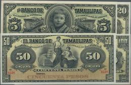 Mexico: El Banco De Tamaulipas Set With 4 Banknote Remainder 5, 20, 50 And 100 Pesos 1902-14, P.S429 - Mexico