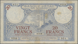 Morocco / Marokko: Banque D'État Du Maroc 20 Francs 1929, P.18, Lightly Stained With Some Folds And - Morocco
