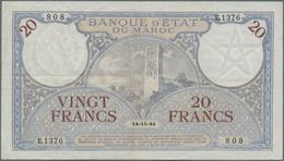 Morocco / Marokko: Banque D'État Du Maroc 20 Francs 1941, P.18b, Some Minor Folds And Creases And A - Morocco