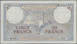 Morocco / Marokko: 20 Francs 1945 P. 18b With Light Folds And Creases In Paper, No Holes Or Tears, P - Morocco