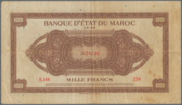 Morocco / Marokko: Set Of 2 Notes 1000 Francs 1943 P. 28, Both In Similar Condition With Folds And C - Morocco