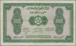 Morocco / Marokko: Banque D'État Du Maroc 5000 Francs 1943, P.32, Still Nice With Strong Paper, Some - Morocco