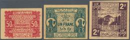Morocco / Marokko: Empire Cherifien Set With 50 Centimes, 1 And 2 Francs 1944, P.41, 42, 43 In UNC C - Morocco