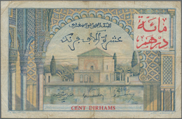 Morocco / Marokko: Banque D'État Du Maroc 100 Dirhams On 10.000 Francs 1955 (1959), P.52, Small Marg - Morocco