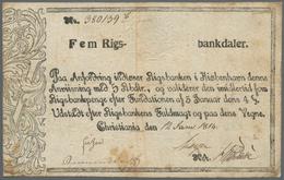 Norway / Norwegen: Rigsbanken I Kiøbenhavn - Christiania (Oslo) 5 Rigsbankdaler 1814, P.A13, Fantast - Norway