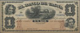 Peru: El Banco De Tacna 1 Sol 1870 Unsigned Remainder, P.S382r In XF+ Condition - Peru