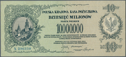 Poland / Polen: 10.000.000 Marek Polskich 1923, P.39, Very Soft Vertical Fold At Center, Some Minor - Poland
