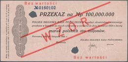 Poland / Polen: 100.000.000 Marek Polskich 1923 Specimen With Red Ovpt. WZOR And Number 0160102, P.4 - Poland