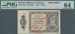 Poland / Polen: Ministry Of Finance 1 Zloty 1938 SPECIMEN, P.50s, PMG Graded 64 Choice Uncirculated - Poland