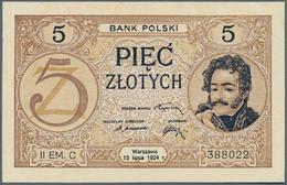 Poland / Polen: 5 Zlotych 1924, II. Emission, P.61a, Slightly Dent Marks From A Presentation Book Al - Poland