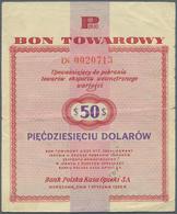 Poland / Polen: Bon Towarowy 50 Dollars 1960, P.FX19, Several Folds And Tiny Tears At Left And Right - Poland