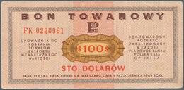 Poland / Polen: Bon Towarowy 100 Dolarow 1969, P.FX33, Several Folds And Tiny Tear At Upper Margin. - Poland