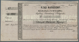 Poland / Polen: 1000 Zlotych ND(1863) Obligacja Tymczasowa In Excellent Condition With Tiny Pinholes - Poland