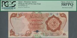 Qatar: Monetary Agency 50 Riyals ND(1973) Color Trial SPECIMEN, P.4cts With Punch Hole Cancellation - Qatar