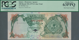 Qatar: Monetary Agency 100 Riyals ND(1973) Color Trial SPECIMEN, P.5cts With Punch Hole Cancellation - Qatar