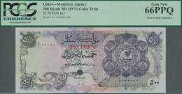Qatar: Monetary Agency 500 Riyals ND(1973) Color Trial SPECIMEN, P.6cts With Punch Hole Cancellation - Qatar