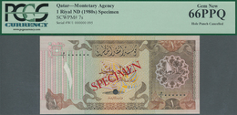 Qatar: Monetary Agency 1 Riyal ND(1980's) SPECIMEN, P.7s With Punch Hole Cancellation In Perfect UNC - Qatar
