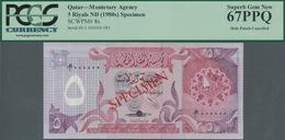 Qatar: Monetary Agency 5 Riyals ND(1980's) SPECIMEN, P.8s With Punch Hole Cancellation In Perfect UN - Qatar