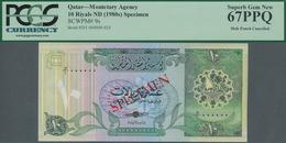 Qatar: Monetary Agency 10 Riyals ND(1980's) SPECIMEN, P.9s With Punch Hole Cancellation In Perfect U - Qatar